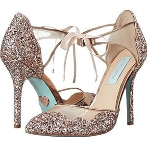 NEW! Betsey Johnson Stela Glitter Heels 7.5